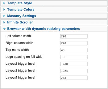 layout and style parameters